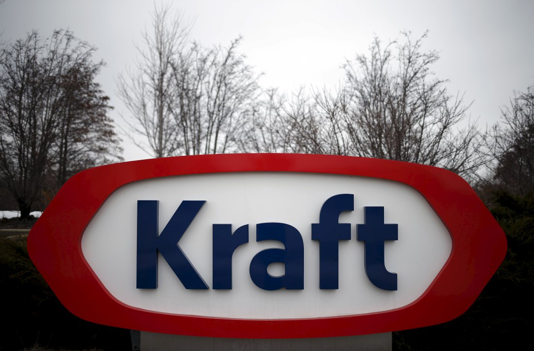 The Kraft logo is pictured outside its headquarters in Northfield